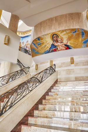 Torun, Poland - July 08, 2017: Interior of newly built Shrine of Our Lady the Star of New Evangelization and St. John Paul II, initiated by Tadeusz Rydzyk Founder and Director of Radio Maryja Station. Editorial