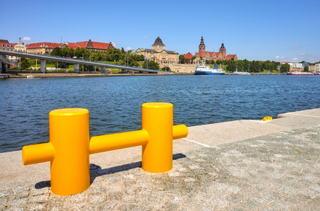 Waterfront in Szczecin, focus on background, Poland. Stock Photo