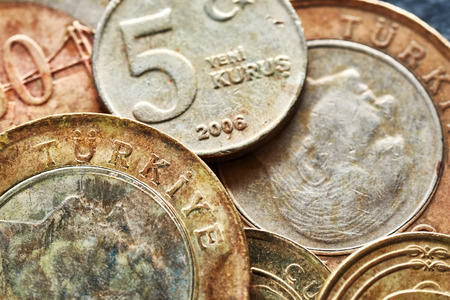 Close up picture of old Turkish lira coins,  shallow depth of field. Stok Fotoğraf