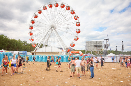 Kostrzyn, Poland - August 05, 2017: Ferris wheel at the 23rd Woodstock Festival Poland, one of the biggest open air festivals in the world. Editorial