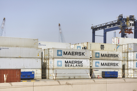 Ajman, United Arab Emirates - May 3, 2017: Containers at the Hutchison Ports Ajman. Stock Photo - 85148686