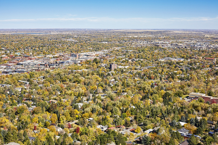 Aerial picture of Boulder City in autumn, Colorado, USA. Stock Photo - 85558155