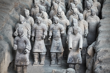 Xian, China - October 4, 2017: Terracotta Army warriors. Three pits contain more than 8000 soldiers, 130 chariots with 520 horses and 150 cavalry horses. No two figures are exactly alike. Editorial