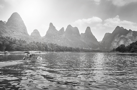 Li River landscape with bamboo rafts from Guilin to Xingping, China.