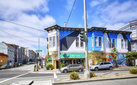 San Francisco, USA - August 24, 2015: Colorful houses typical for San francisco by Divisadero Street. Sajtókép
