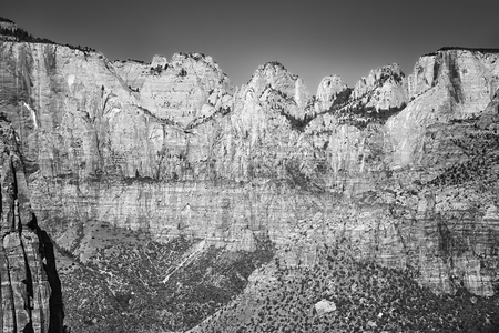 Black and white picture of a canyon in the Zion National Park, Utah, USA.