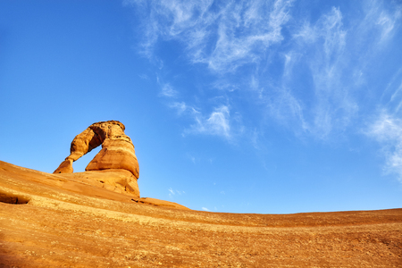 Delicate Arch at sunset, Arches National Park, Utah, USA.