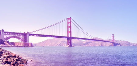 Panoramic picture of the Golden Gate Bridge at sunset, color toned image, San Francisco, USA. Stock Photo - 92029037