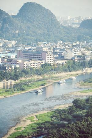 Guilin city color toned aerial picture, Guangxi Zhuang Autonomous Region, China.