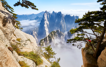 Scenic view from the Mount Hua (Huashan), one of the most popular travel destinations in China. Stock Photo