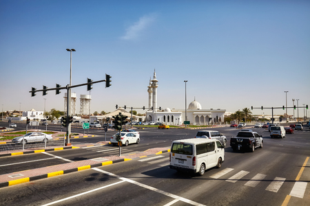 Deira, United Arab Emirates - May 03, 2017: Busy intersection on the highway connecting Dubai to Sharjah.