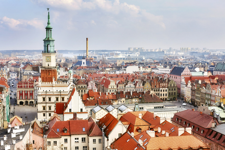 Aerial view of the Poznan Old Town, Poland.