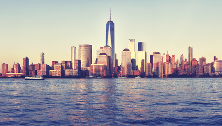 Vintage stylized picture of Manhattan waterfront at sunset, New York City, USA. Stock Photo