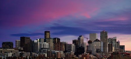 Panoramic picture of Denver skyline at sunset Colorado, USA.
