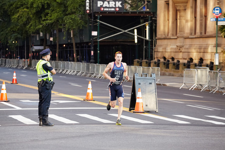 New York, USA - July 01, 2018: New York Police Department secures NYC Triathlon. Editorial
