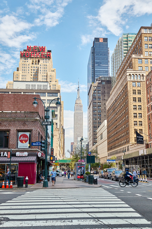 New York, USA - June 28, 2018: City life in the Big Apple, this nickname for New York City first introduced in the 1920s by John J. Fitz Gerald.