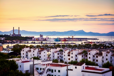 Port de Alcudia at sunrise, Mallorca, Spain.