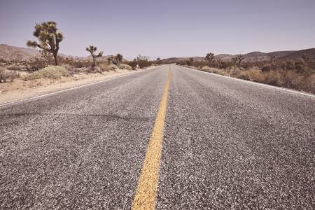 Empty road in the Joshua Tree National Park, retro color toning applied, California, USA.