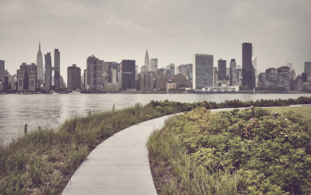 New York City skyline, color toning applied, USA.