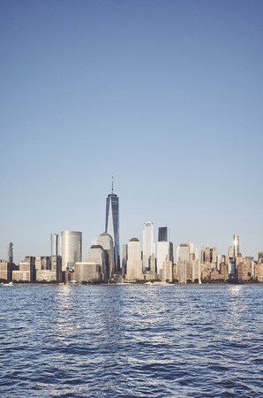 New York City skyline, color toned picture, USA.