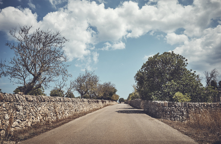Color toned picture of a countryside road between stone walls, Mallorca, Spain.