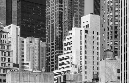 Black and white picture of New York City architecture, USA.