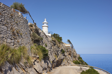 Cap Gros lighthouse located on Mallorca coast, Spain.