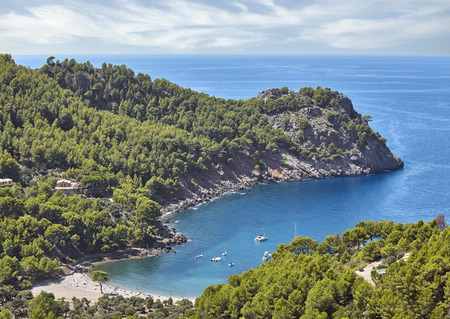 Cala Tuent cove beach seen from above, Mallorca, Spain.