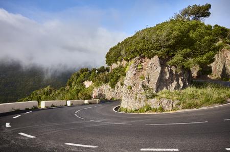 Scenic road bend in Anaga mountain range, Tenerife, Canary Islands, Spain.