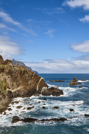 Macizo de Anaga mountain range scenic cliffs at the Atlantic Ocean coast of Tenerife, Spain.