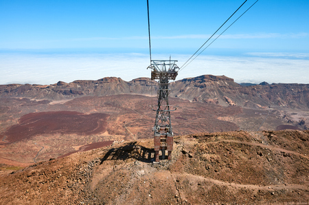 View from Teide Cableway car that goes up Mount Teide, the highest peak in Spain, Teide National Park, Tenerife, Spain. Reklamní fotografie
