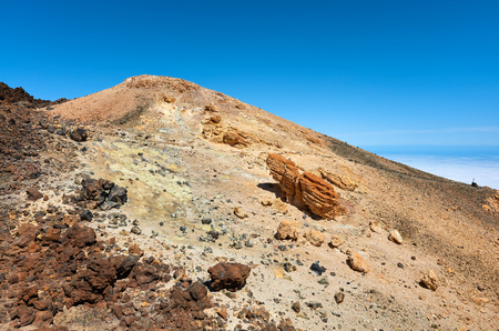 Top of the Mount Teide volcanic scenery, Teide National Park, Tenerife, Spain.