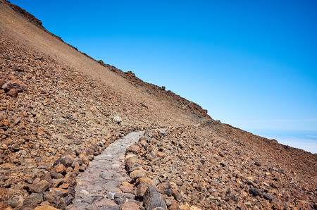 Trail to the Mount Teide summit, Teide National Park, Tenerife, Spain.