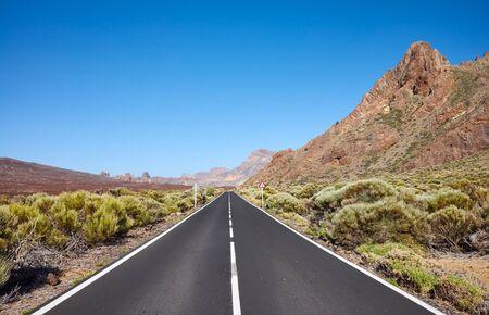 Scenic asphalt road in Teide National Park, Tenerife, Spain.