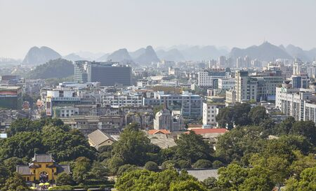 Guilin, China - September 15, 2017: Scenic view of Guilin, that was designated in 1982 as National Famous Historical and Cultural City by the State Council of China.