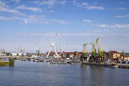 Szczecin Lasztownia Island panoramic view, Poland. Stockfoto