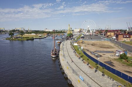 Szczecin, Poland - June 13, 2019: Lasztownia Island during preparation for the Sail Days in Szczecin held on June 14-16.