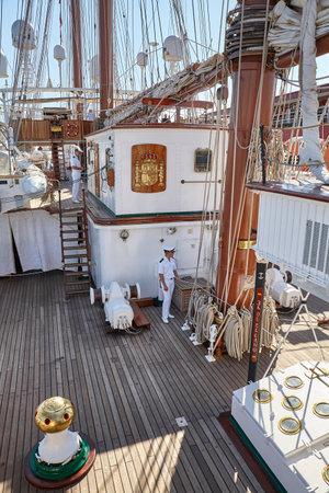 Szczecin, Poland - June 13, 2019: Deck of Spanish Navy Sailing Training Ship Juan Sebastian de Elcano moored in Szczecin.
