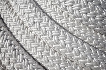 Close up picture of a thick sailing ship rope, selective focus. Stockfoto