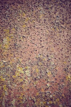 Picture of a rusty and mossy wall, color toned abstract background or texture.