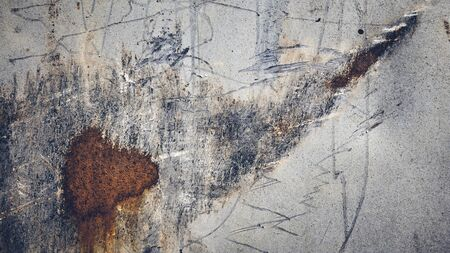 Picture of a scratched and stained wall, color toned abstract background or texture.