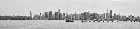 New York City black and white panoramic view, USA.