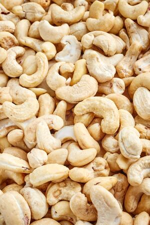 Close up picture of cashews, selective focus.