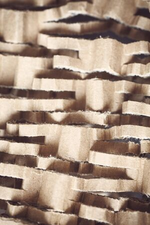 Close up picture of shredded cardboard, selective focus.