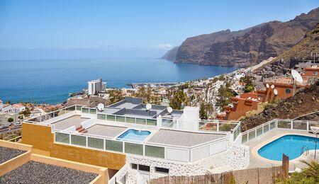 Los Gigantes seaside resort town seen from above, Tenerife, Spain. Stok Fotoğraf