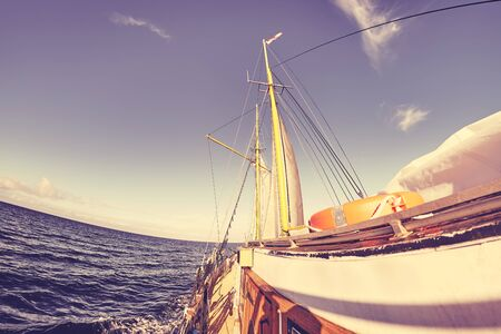 Fisheye lens picture of an old sailing ship, color toning applied. Stok Fotoğraf