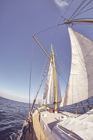 Fisheye lens picture of an old sailing ship, color toning applied. Banco de Imagens