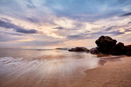 Scenic sunset on the beach, long time exposure, Sri Lanka.