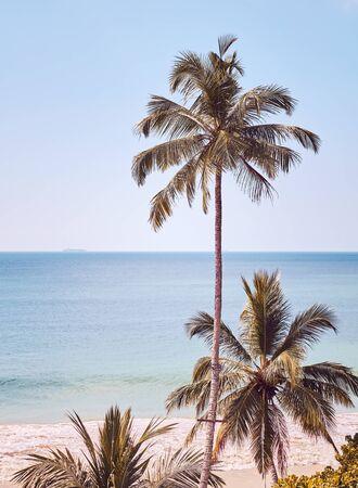Retro toned picture of tropical coast, Sri Lanka.
