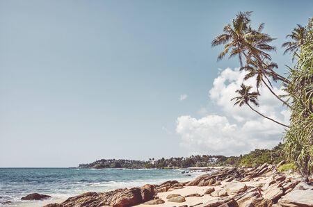 Tropical beach with coconut palm trees, retro colors toning applied, Sri Lanka. Stock Photo